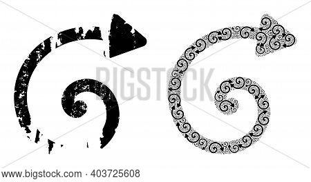 Vector Spiral Arrow Fractal Is Designed Of Scattered Itself Spiral Arrow Parts. Textured Spiral Arro