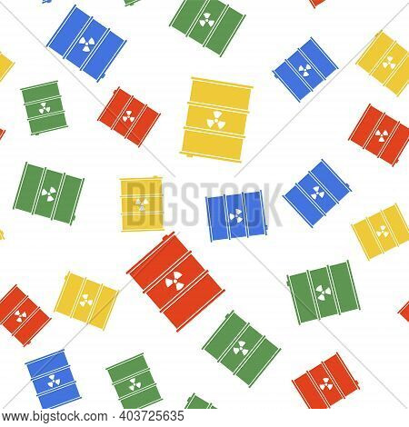 Color Radioactive Waste In Barrel Icon Isolated Seamless Pattern On White Background. Radioactive Ga