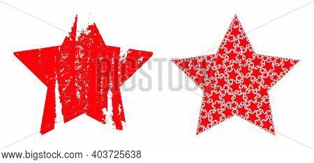 Vector Star Composition Is Created From Repeating Fractal Star Parts. Scratched Star Icon. Fractal C