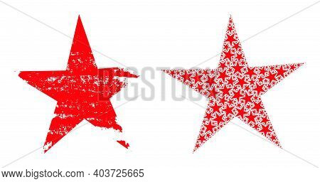 Vector Star Fractal Is Made From Repeating Fractal Star Elements. Distress Star Icon. Recursive Coll