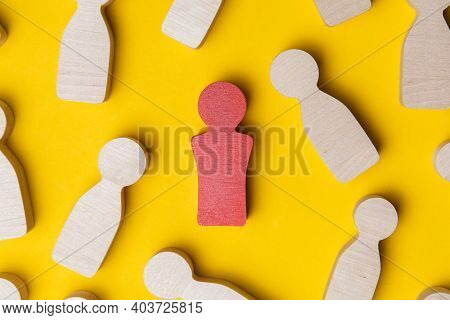 Social Distancing Concept, Wooden Cubes With Person Icons, Keep Distance In People Society To Protec