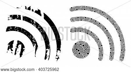 Vector Wi-fi Signal Fractal Is Designed Of Scattered Fractal Wi-fi Signal Parts. Grunge Wi-fi Signal