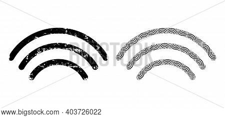 Vector Wi-fi Waves Composition Is Done From Repeating Fractal Wi-fi Waves Pictograms. Textured Wi-fi