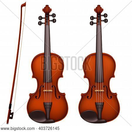 Realistic Vector Detailed Brown Violin With Fiddlestick Isolated On A White Background. Classical St