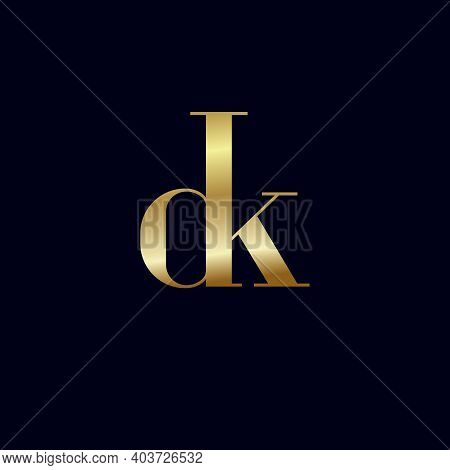 D And K Letters. D, K Gold Monogram. Combination Letters In One Shape. Logo For Personal Monogram, L