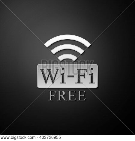 Silver Free Wi-fi Icon Isolated On Black Background. Wi-fi Symbol. Wireless Network Icon. Wi-fi Zone
