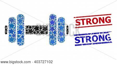 Barbell Star Mosaic And Grunge Strong Seals. Red And Blue Watermarks With Distress Style And Strong
