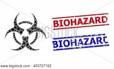 Biohazard Star Mosaic And Grunge Biohazard Seals. Red And Blue Seals With Rubber Texture And Biohaza