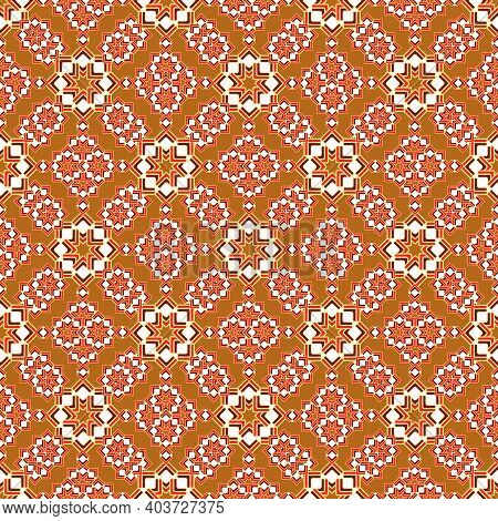 A Complex Geometric Pattern Of Bright Curly Stars. Diagonal Seamless Print In Red And Brown Shades.