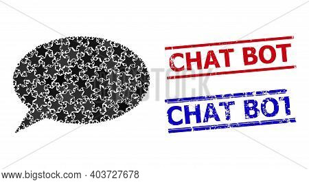Chat Cloud Star Mosaic And Grunge Chat Bot Seals. Red And Blue Seals With Rubber Style And Chat Bot