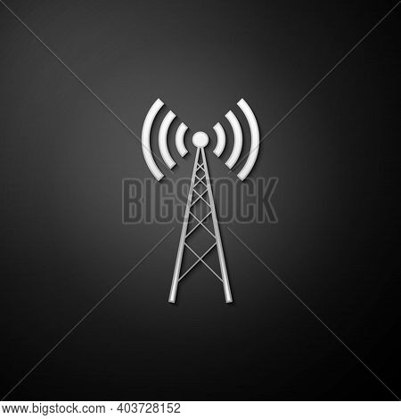 Silver Antenna Icon Isolated On Black Background. Radio Antenna Wireless. Technology And Network Sig