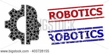 Cyborg Head Star Mosaic And Grunge Robotics Stamps. Red And Blue Stamps With Corroded Style And Robo