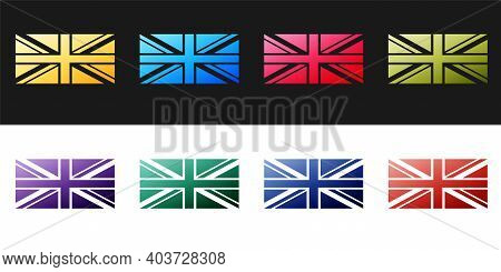 Set Flag Of Great Britain Icon Isolated On Black And White Background. Uk Flag Sign. Official United