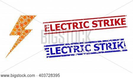Electric Strike Star Mosaic And Grunge Electric Strike Seal Stamps. Red And Blue Stamps With Grunge