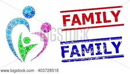 Family Star Mosaic And Grunge Family Stamps. Red And Blue Stamps With Distress Surface And Family Wo