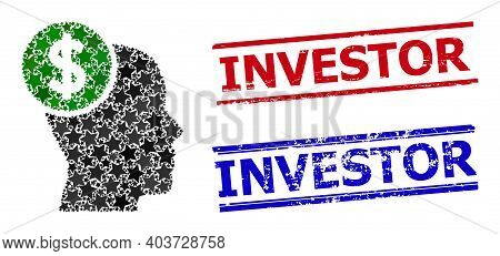 Head Banking Star Mosaic And Grunge Investor Stamps. Red And Blue Stamps With Rubber Surface And Inv