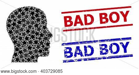 Man Profile Star Mosaic And Grunge Bad Boy Seal Stamps. Red And Blue Seals With Grunge Surface And B