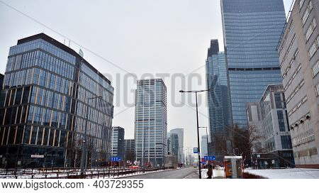 Warsaw, Poland. 17 January 2021.view Of Skyscrapers During Snowfall.urban Cityscape And Modern Archi