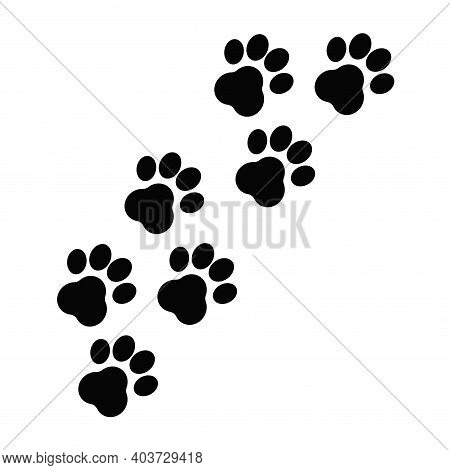 Paw Print, Footsteps Isolated On White Background. Silhouette Of Toe Marks Monochrome Stock Vector I