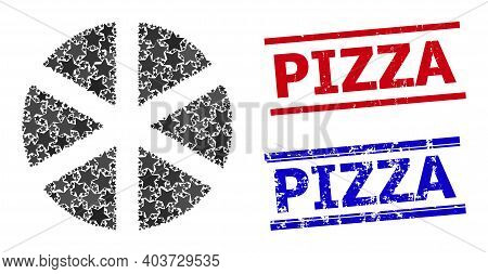 Pizza Star Pattern And Grunge Pizza Seal Stamps. Red And Blue Stamps With Rubber Texture And Pizza P