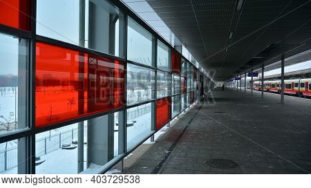 Warsaw, Poland. 17 January 2021. Warszawa Stadion Is A Railway Station, Located In The District Of P
