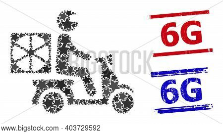 Pizza Motorbike Delivery Star Mosaic And Grunge 6g Seals. Red And Blue Seals With Grunge Surface And