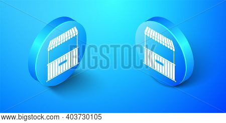 Isometric Street Stall With Awning And Wooden Rack Icon Isolated On Blue Background. Kiosk With Wood