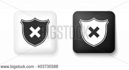 Black And White Shield And Cross X Mark Icon Isolated On White Background. Denied Disapproved Sign.