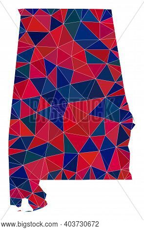 Vector Triangle Mosaic Map Of Alabama State In American Flag Colors, Blue And Red. Geographic Scheme