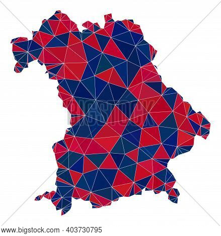 Vector Triangle Mosaic Map Of Bavaria State In American Flag Colors, Blue And Red. Geographic Plan I