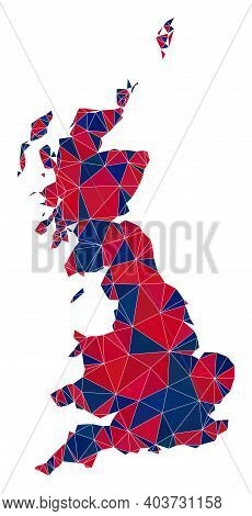 Vector Triangle Mosaic Map Of Great Britain In American Flag Colors, Blue And Red. Geographic Collag