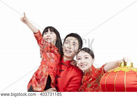 Portrait Of Family, Father Carrying Daugther In Arm, Looking Something, With Red Lantern, In Tang Su