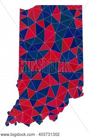 Vector Triangle Mosaic Map Of Indiana State In American Flag Colors, Blue And Red. Geographic Collag