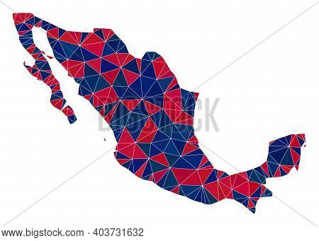 Vector Triangle Mosaic Map Of Mexico In American Flag Colors, Blue And Red. Geographic Scheme In Blu