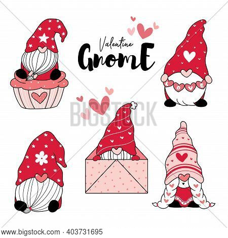 Cute Love Gnome Red Valentine With Heart Cartoon Drawing Clip Art Element Collection, Valentine Gnom