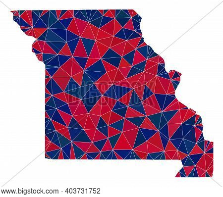 Vector Triangle Mosaic Map Of Missouri State In American Flag Colors, Blue And Red. Geographic Colla