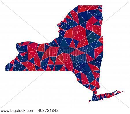 Vector Triangle Mosaic Map Of New York State In American Flag Colors, Blue And Red. Geographic Plan