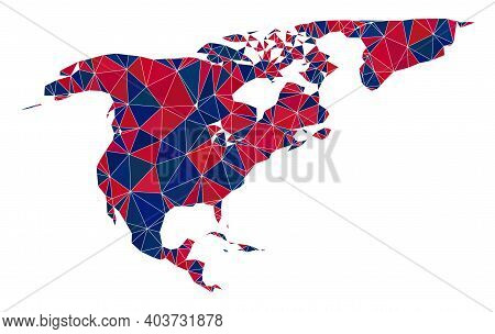 Vector Triangle Mosaic Map Of North America And Greenland In American Flag Colors, Blue And Red. Geo