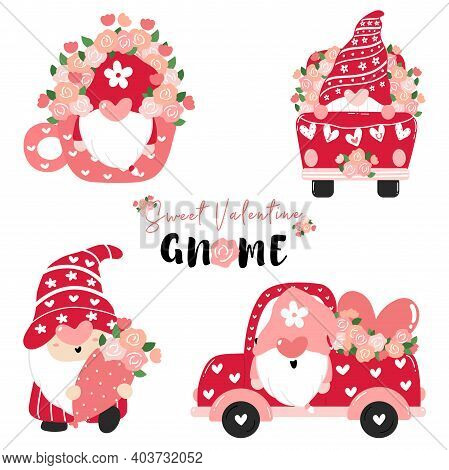 Sweet Valentine Gnome In Pink With Flowers Collection, Valentine Cartoon Flat Vector, Valentine Clip