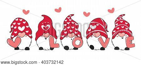 Valentine Gnome With Love Letter, Red Valentine Gnome Cartoon Vector Doodle