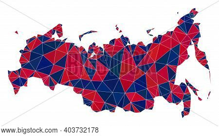 Vector Triangle Mosaic Map Of Russia In American Flag Colors, Blue And Red. Geographic Collage In Bl