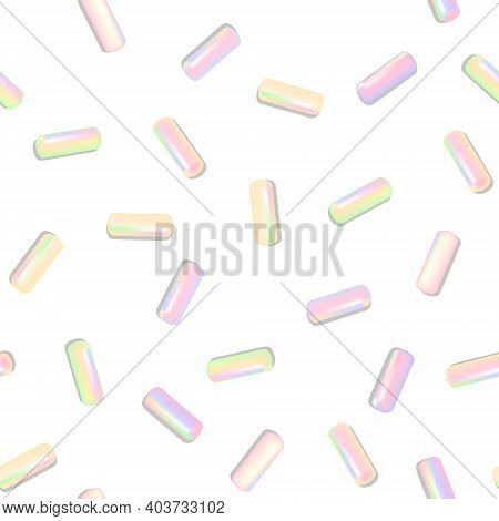 Sprinkle Realistic With Grains Of Desserts. Seamless Pattern Bright Colorful Sprinkles Grainy Isolat