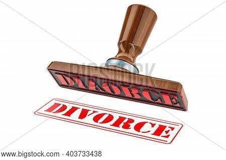 Divorce Stamp. Wooden Stamper, Seal With Text Divorce, 3d Rendering Isolated On White Background