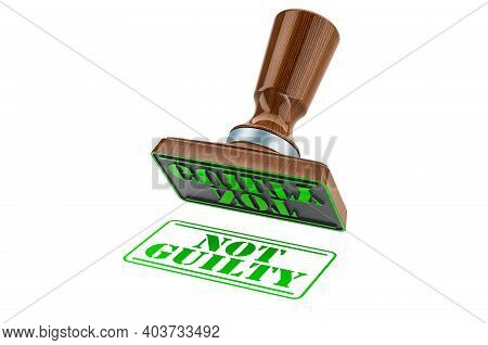 Not Guilty Stamp. Wooden Stamper, Seal With Text Not Guilty, 3d Rendering Isolated On White Backgrou