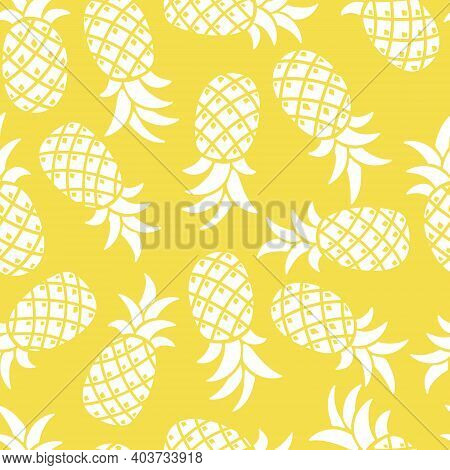 Pineapple Seamless Vector Yellow Pattern, Color 2021. Stylized Pineapples On A White Background. Tro