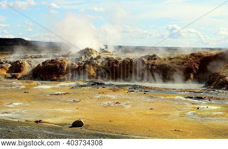 The View Of Smoking Ground And Boiling Mud Pots At Namafjall Hverir Geothermal Area Near Lake Myvatn