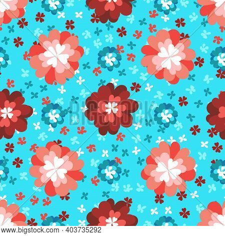 Childrens Pattern Flowers. Seamless Floral Pink And Red Pattern On A Blue Background. Bright Chrysan