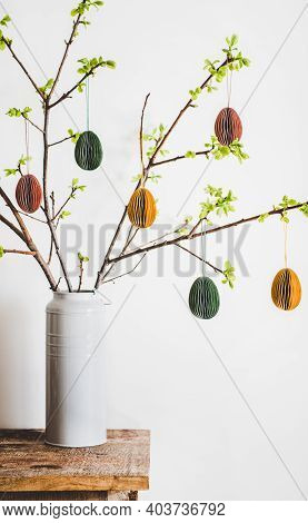 Easter Home Decoration. Tree Branches In Vase With Fresh Spring Leaves Decorated With Festive Colorf