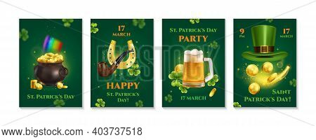 Realistic Patrick Day Set Of Vertical Banners With Editable Text Announcement Dates And Icons Irish