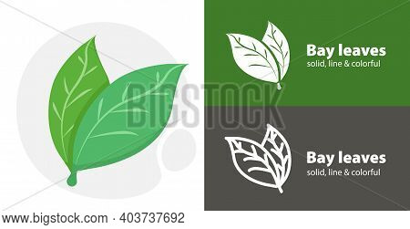Bay Leaves Flat Icon, With Bay Leaves Simple, Line Icon